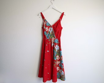 VINTAGE Dress Sundress Tropical Floral 1970s Red Small