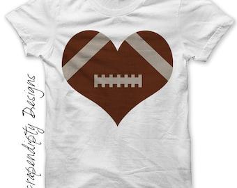 Iron on Football Shirt PDF - Sports Iron on Transfer / Boys Football Heart Shirt / Kids Sports Birthday Party / Love Football Tshirt IT251-P