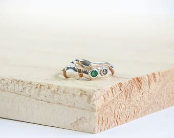 Terra Emerald & Champagne Diamond Ring, Sterling Silver, Emerald Ring, Diamond Ring, Silver Ring, Organic Jewelry, Personalised Ring, Celtic
