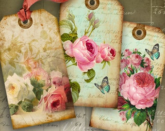 Digital Collage Sheet SHABBY CHIC GIFT Tags No1 Printable Download Images Vintage Scrapbooking Paper Jewelry Holders hang tags by Art Cult