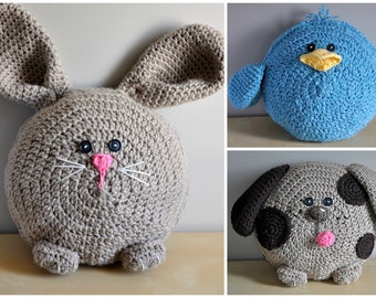 Spring Pals Pillow Pack Crochet Pattern pdf (Puppy, Bunny, Chick)