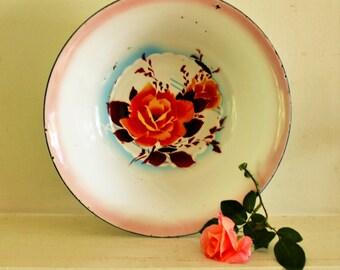 Vintage Bumper Harvest Enamel Bowl