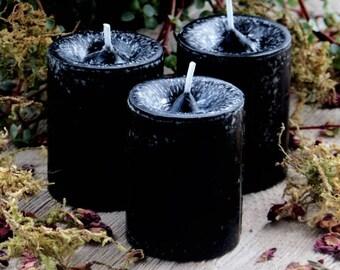 """SEANCE """"Old European Witchcraft""""™ Black Pillar Votive Candles"""