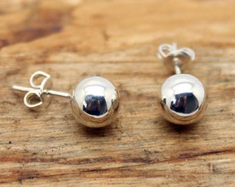 Silver Plated 8mm Stud Ball Earrings - Silver Jewellery - Stud Earrings - Silver Suds - Earrings - (TE-007)
