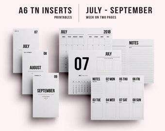 A6 TN Insert | A6 TN Printable | A6 TN Printable Insert | A6 Insert - July - September 2018