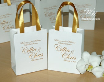 Elegant Gift bags - Bridal Party Gift Bag Personalized with names - Bridesmaids Gifts, Wedding welcome gift Bag with golden satin ribbon