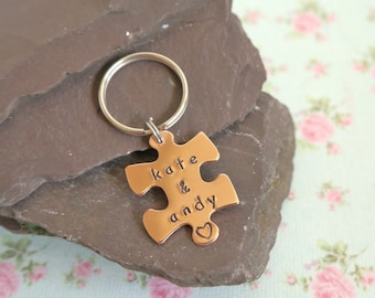 Jigsaw Keyring, 7th Anniversary Gift, Personalised Puzzle Piece, Personalised Couples Key Chain, Gift for Bride and Groom, For Boyfriend