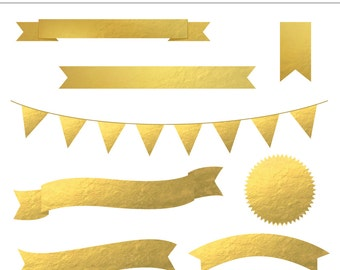 8 High Quality Gold Foil Banners - Bunting, Ribbon Banner, Commercial Use, Digital, Frame, Seal,  Label, Flag, Instant Download