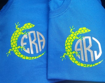 Kids Tshirt Custom Monogram Childs Shirt T-shirt Gecko Lizard Design SALE