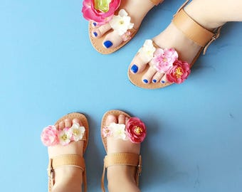 Mommy and Me Double Strap Floral Greek Summer Leather Sandals - Adult & Child with Colorful flower Embellishment for wedding / flower girl