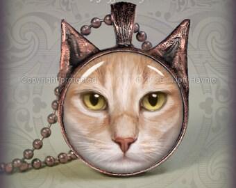 Buff Cat pendant // Cat necklace resin pendant // buff cat jewelry // Cat Jewelry Picture Pendant // Kitty necklace  // BF3
