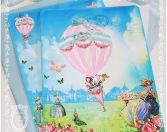 Marie Antoinette Tea On the Lawn from a Pink Hot Air Balloon Invitations or Card Set of 6