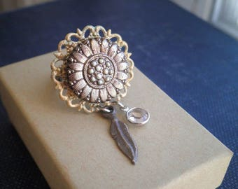 Bohemian Flower Cocktail Ring - Czech Glass Button Filigree Feather & Crystal Statement Ring - Silver Daisy Floral Boho Jewelry Gift For Her