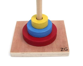 Game recessed, painted wood pallets, vertical rod, Montessori Educational Toy, diameters, handmade, customizable.