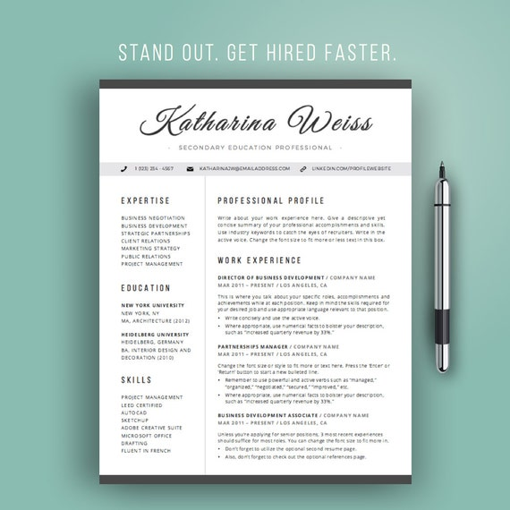 Resume template modern cv template instant download word resume template modern cv template instant download word professional resume design teacher resume cursive black and white mac or pc yelopaper Image collections