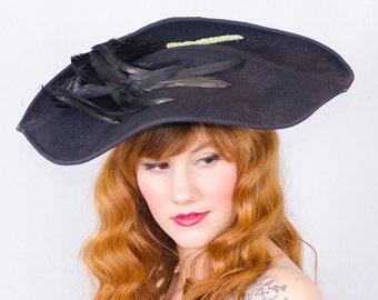 vintage 1940s hat / wide brim hat / Gimbel