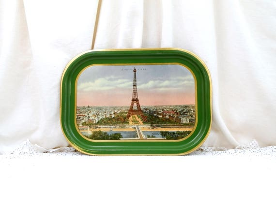 Vintage 1930s Metal Serving Tray Souvenir of Paris Eiffel Tower and View of the River Seine and the City Green and Gold Edge, Parisian Decor