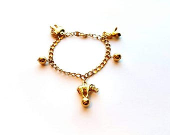 Vintage Avon Lucky Gold Bracelet with Elephant Charms