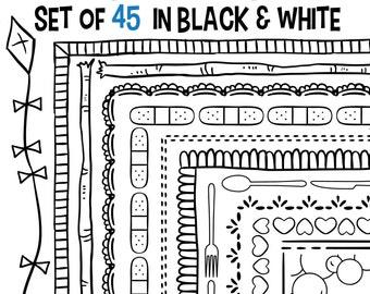 Doodle Borders, Set of 45 Borders, Doodle Banners, Doodle Clip Art, Classroom Download, Teachers Clip Art, Clip Art Frame, Classroom Clipart