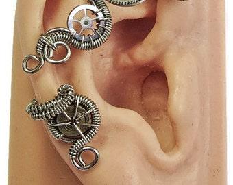 Small Silver Steampunk Ear Wrap - Steampunk Jewelry, Steampunk Ear Cuff
