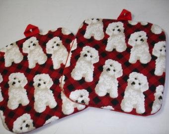 "Set of 2 Cute ""Bichon"" dog on red print cotton Potholders"