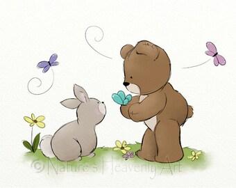 11 x 14 Baby Nursery Wall Art, Girls Room Wall Decor, Teddy Bear Art, Childrens Print, Nursery Bunny (56)