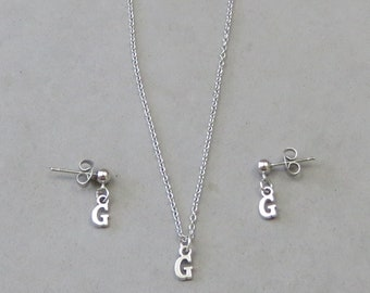 Tiny Initial G Necklace and Earring Set - Gold or Silver Plated