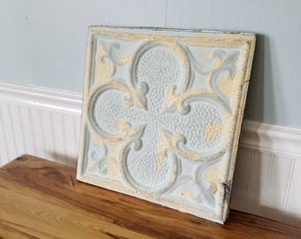 "15"" Tin Ceiling, Ceiling Tile Square Antique Tin Tile Old Ceiling Tin Quatrefoil Pattern Metal Ceiling Vintage Ceiling Tile Vintage Tin Tile"