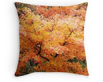 Fall Toss Pillow, Fall Foliage Print, Orange Leaves Print, Yellow Fall Pillow, Fall Photo, Fall Trees Pillow, Fall Scenic Print