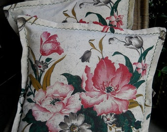 Vintage Barkcloth Pillow Cover, Beautiful Floral Fabric, One Available