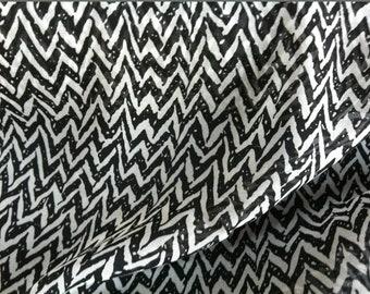 Beautiful Black and grey zig zag chiffon fabric