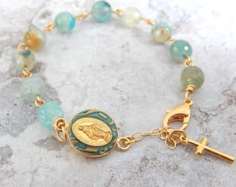 Catholic Rosary Bracelet - Gold Miraculous Medal Catholic jewelry Religious gift for her Virgin Mary Confirmation Gift for girls Christian