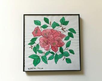 93/100: California flowers - original framed watercolor illustration