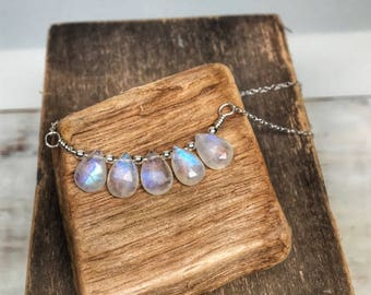 Moonstone necklace sterling silver - faceted moon stone jewelry