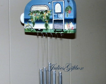 Blue Hand Crafted Wood Travel Trailer Camper Wind Chime Hand Painted-Solid Aluminum Chimes Indoor/Outdoor-Fathers Day-One of a Kind