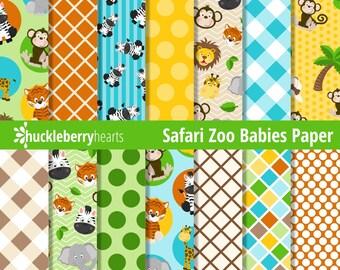 Safari Zoo Digital Paper, Zoo Scrapbook Paper, Zoo Animals Paper, Printable, Commercial Use