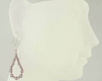 Mauve Beaded Teardrop Earrings/Dangle Earrings/Drop Earrings