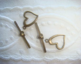 SET of 5 CLASPS T. brass