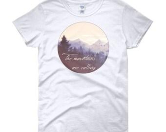 The Mountains are Calling Shirt, Women's Mountain Shirt, Nature Shirt, Outdoors Shirt, Adventure Shirt, Camping Shirt, Mountain Landscape
