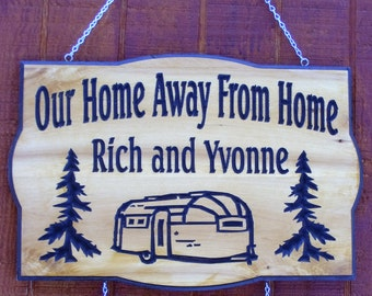 Custom Carved Camping Airstream - Tin Can -Canned Ham  -Vintage Trailer -Vintage Casita camper RV-Sign