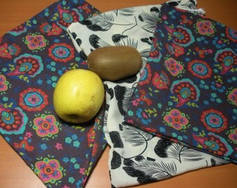 Three bags washable and reusable, for fruits and vegetables
