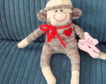 Miniature Baby Girl Mini Sock Monkey with Pink Bear
