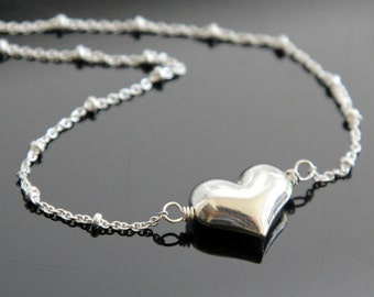 Sterling Silver HEART Necklace, Large Puff Heart Necklace, Heart Necklace with Beaded Chain.
