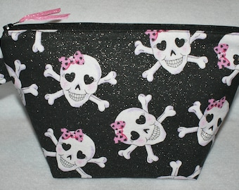 Skull Pouch,Girl Skull Zippered Pouch,Pink White Black Skull Pouch,Makeup Bag,Glitter Skull Pouch,Bags and Purses,Pouches & Coin Purses