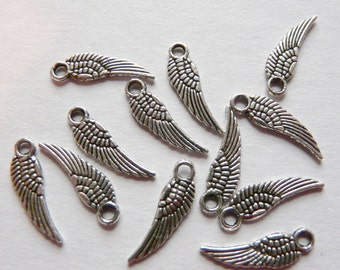 15 Tibetan Silver Eagle Wing Charms 17mm