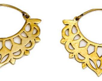 Gypsy Hoops- Brass Earrings- Tribal Jewelry- Brass Hoops- Gypsy Jewelry