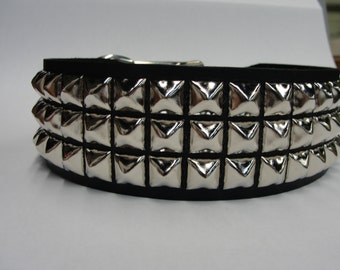 "spiked Studded Leather Dog Collar 2"" Wide with Silver/Chrome Large Pyramid/Square studs made in USA Black Red White Pink Tan Brown"