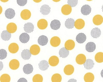 Moda - Colour Theory Dots White and Mustard (Half metre)