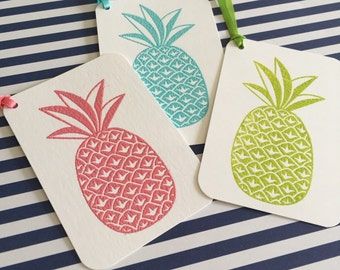 10 Pineapple Gift Tags With Ties-- You Choose The Color