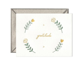 Floral Gratitude letterpress card - single
